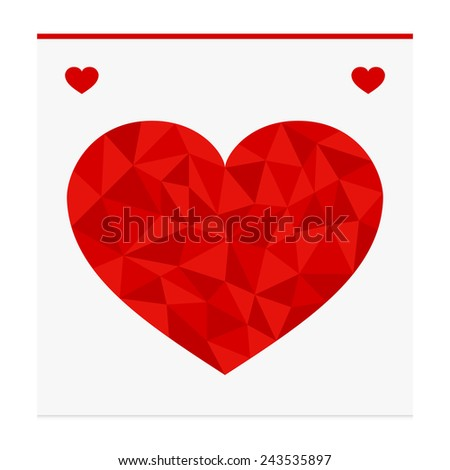 Geometric shape from triangles. Heart - vector illustration. - stock vector