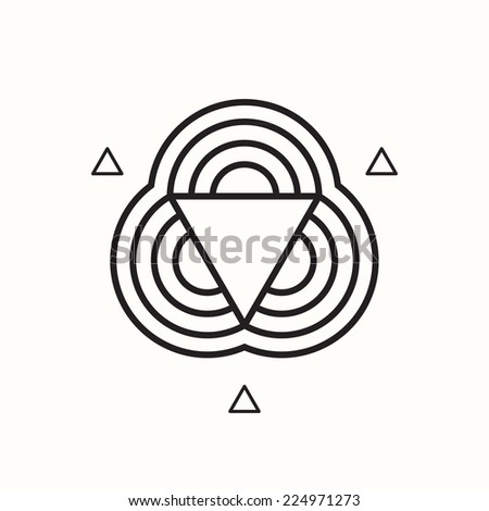 Geometric shape, triangle and circles, vector illustration - stock vector