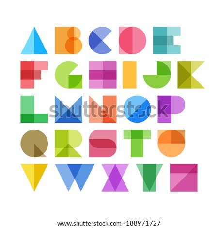 Geometric shapes alphabet letters. Vector. - stock vector