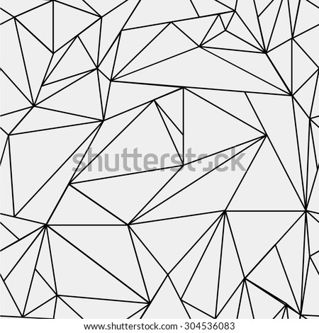 Geometric simple black and white minimalistic pattern, triangles or stained-glass window. Can be used as wallpaper, background or texture. - stock vector