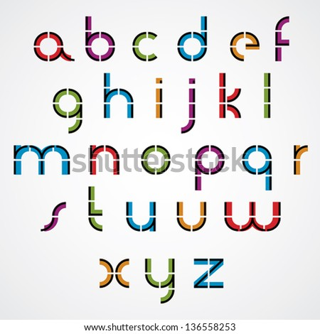Geometric style letters alphabet, vector font. - stock vector