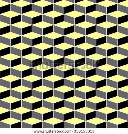 Geometric texture with optical illusion effect. Seamless pattern. Vector art. - stock vector