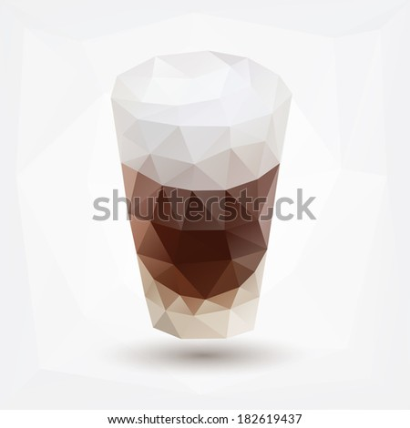 Geometric triangle glass with a drink - stock vector