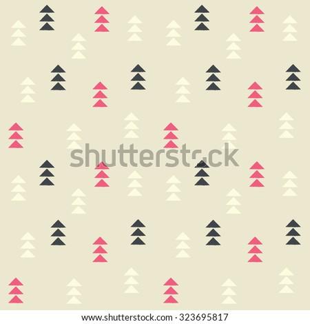 Geometric triangles, seamless pattern, vector illustration - stock vector