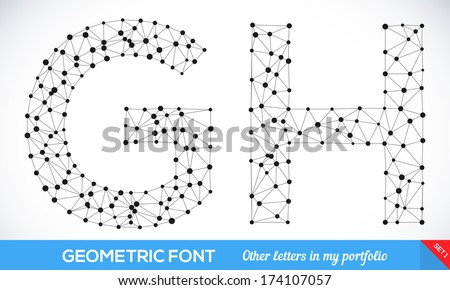 Geometric type font, geometric modern typography sat. G and H letters. More letters in my portfolio. - stock vector