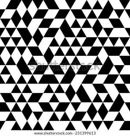 Geometric vector pattern with black and white triangular elements. Seamless abstract ornament for wallpapers and background - stock vector