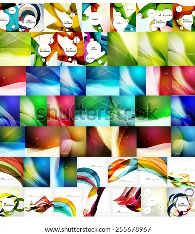 Geometric wave abstract backgrounds, vector mega collection of futuristic templates - stock vector
