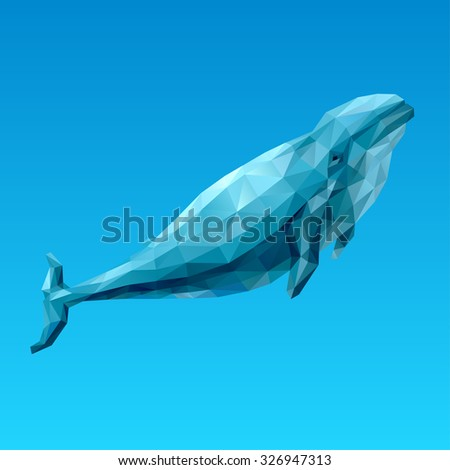 Geometric whale with many triangles which emerges from the depths - stock vector