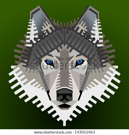 Geometric wolf's face. Graphic wolf head front view. Qualitative vector element for identity design, branding, tattoo and much more. Good illustration for circus, zoo, wildlife, nature, etc. - stock vector