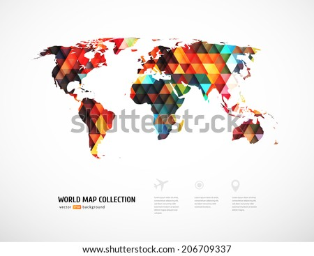 Geometric world map with triangle pattern. Vector illustration - stock vector
