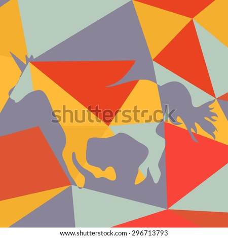 Geometrical background with a beautiful running unicorn  horse silhouette  - stock vector