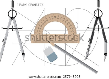 Geometrical background with the drawing of proportions of a golden ratio, caliper, compass and a protractor - stock vector