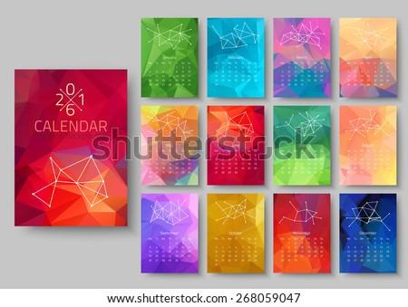 Geometrical calendar of 2016. Vector illustration - stock vector