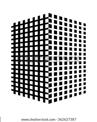 Geometrical concept - abstract design of cube / box shape web icon. 3d square texture block, black and white sides, interesting simple style. vector art image illustration isolated on background eps10 - stock vector
