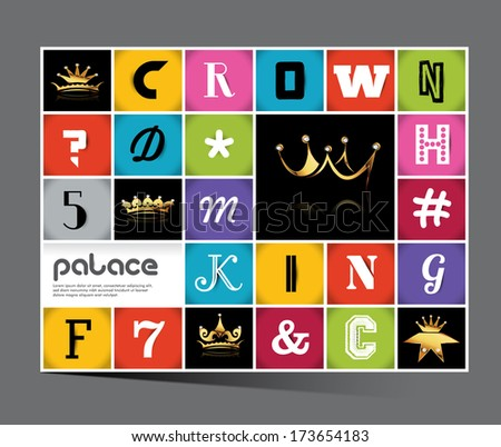 Geometrical Design with Golden crown Squares background ,vector element, editable illustration, - stock vector