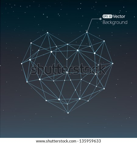 Geometrical heart background with shining lines - stock vector