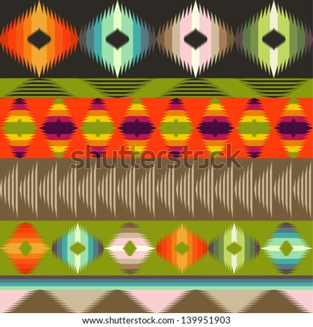Geometrical ornamental pattern ethnic style - stock vector
