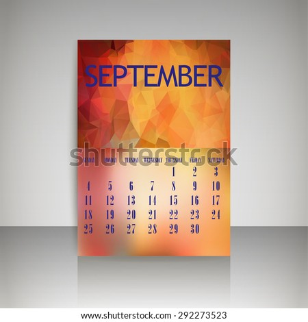 Geometrical polygonal triangles and blurred backgrounds 2016 calendar design for september month vector EPS10 - stock vector