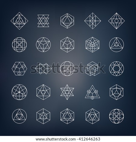Geometrical shapes. Can be used as sacred geometry symbols or alchemy and spirituality elements. - stock vector