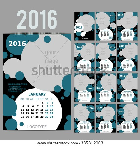 Geometrical Wall Monthly Calendar for 2016 Year. Vector Design Print Template with Place for photo.  A3, A2 or bigger. Week Starts Monday. Portrait Orientation. Set of 12 Months and Cover. 13 pages - stock vector