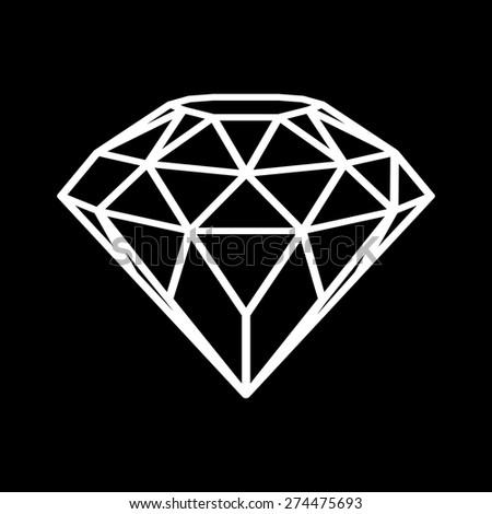 Geometrical white diamond isolated on black background. Vector illustration. - stock vector