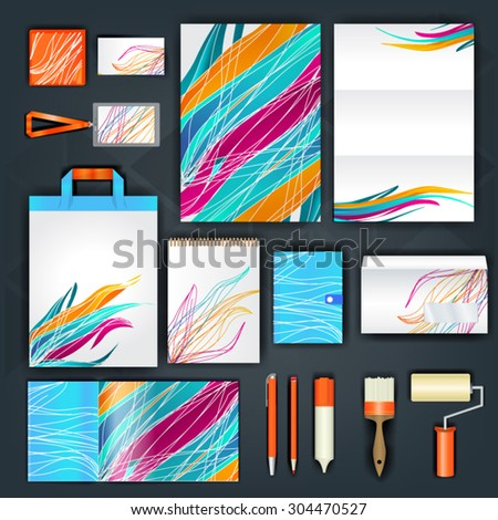 Geometry corporate identity template design with purple, blue and orange shapes. Business stationery - stock vector