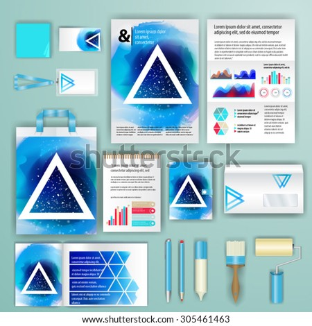 Geometry corporate identity template design with watercolor splash. Cover layout and infographics. Business stationery. - stock vector