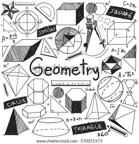 Geometry math theory and mathematical formula doodle handwriting icon in white isolated background with hand drawn geometric model used for school education and document decoration, create by vector - stock vector