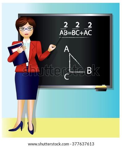 geometry teacher - stock vector