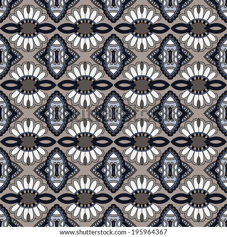 geometry vintage floral seamless pattern - stock vector