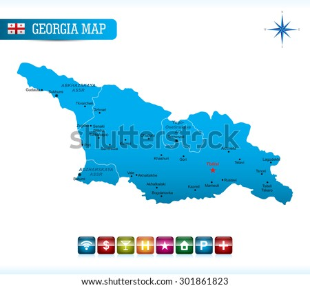 Georgia Blue Map - stock vector