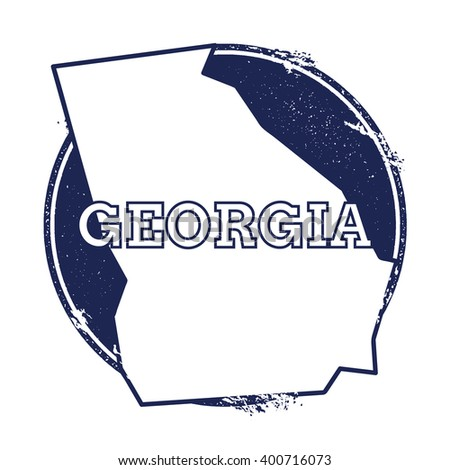 Georgia vector map. Grunge rubber stamp with the name and map of Georgia, vector illustration. Can be used as insignia, logotype, label, sticker or badge of USA state. - stock vector
