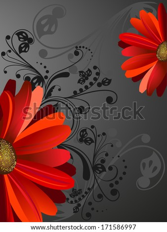 gerbera, illustrations - stock vector