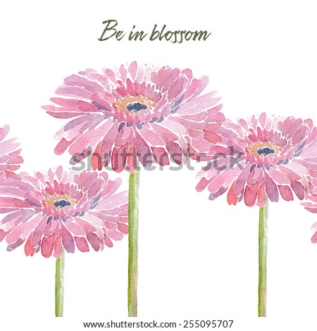 Gerbera. Vector illustration for different occasions, holidays, Woman's Day. Cute summer and spring card. Floral seamless pattern with pink watercolor flowers on the white background.  - stock vector