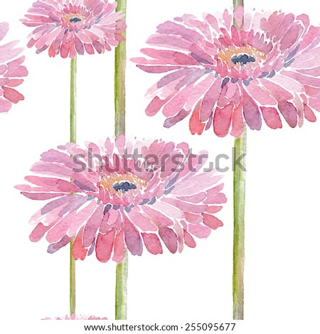 Gerbera. Vector illustration for textile, different occasions, holidays. Cute summer and spring background. Floral seamless pattern with pink watercolor flowers on the white background.  - stock vector
