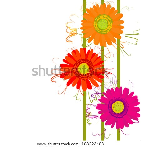 Gerberas. Vector greeting card. - stock vector
