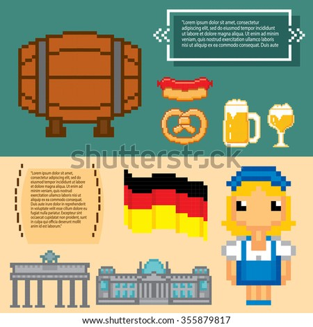 German culture symbols banners. Pixel art. Old school computer graphic style. - stock vector