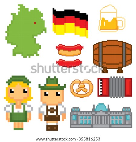 German culture symbols icons set. Pixel art. Old school computer graphic style. - stock vector