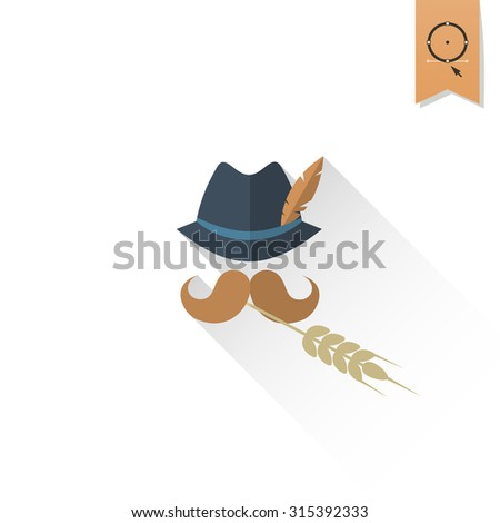German Hat with Feather, Moustache and Wheat. Oktoberfest Beer Festival. Long Shadow. Flat design style. Vector - stock vector