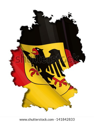 German map cut-out, highly detailed on the edge's shading, with a waving flags underneath. Crest on a separate layer for easy removal. - stock vector