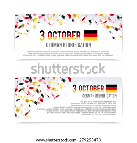 German Reunification Day banners. Vector illustration, eps10. - stock vector