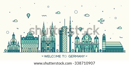 German skyline, detailed silhouette. Berlin, Dresden, Frankfurt, Cologne, Hamburg, Munich. Trendy vector illustration, linear style - stock vector
