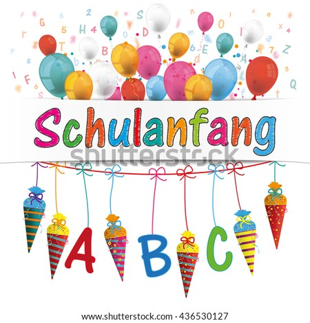 "German text ""Schulanfang"", translate ""Back to School"". Eps 10 vector file. - stock vector"