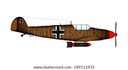 German WW2 fighter on white background - vector illustration. - stock vector