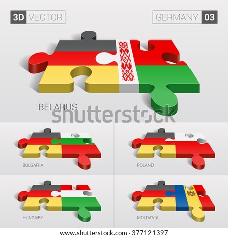 Germany and Belarus, Bulgaria, Poland, Hungary, Moldavia Flag. 3d vector puzzle. Set 03. - stock vector