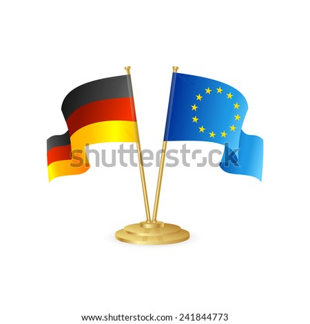 Germany and europe vector table flag isolated on white - stock vector