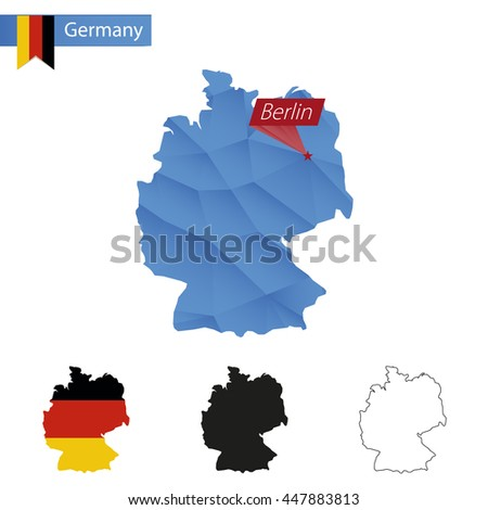 Germany blue Low Poly map with capital Berlin, versions with flag, black and outline. Vector Illustration. - stock vector