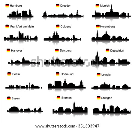 Germany cities set - stock vector