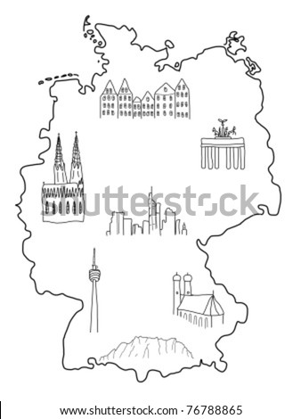 Germany - doodle map with famous places: Berlin, Hamburg, Cologne, Frankfurt, Stuttgart, Munich and Alps - stock vector