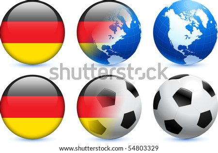 Germany Flag Button with Global Soccer Event Original Illustration - stock vector